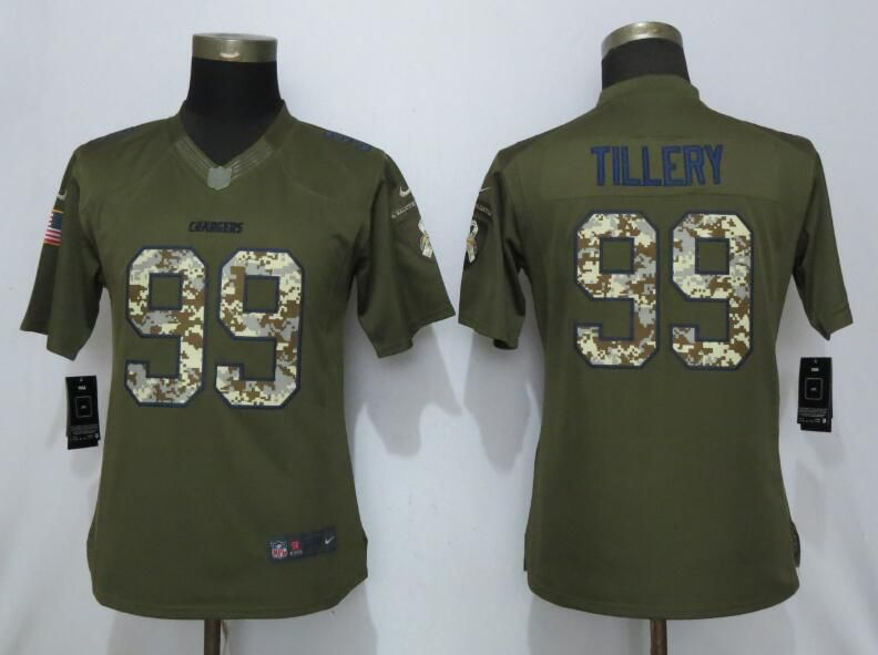 Women Los Angeles Chargers 99 Tillery Green Salute To Service Nike NFL Jerseys