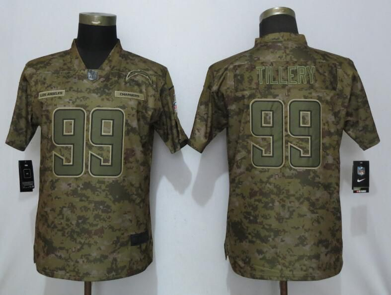 Women Los Angeles Chargers 99 Tillery Nike Camo Salute to Service NFL Jerseys