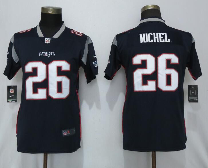 Women New England Patriots 26 Michel Navy Blue Nike Vapor Untouchable Limited Player NFL Jerseys