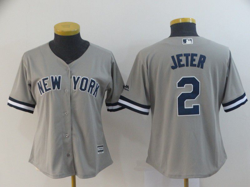 Women New York Yankees 2 Jeter Grey MLB Jerseys