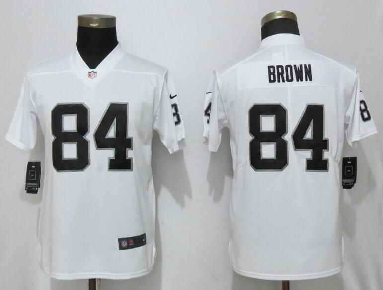 Women Oakland Raiders 84 Brown White Nike Vapor Untouchable Limited Player NFL Jerseys