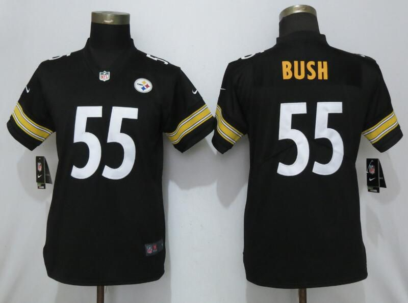 18293e57b Women Pittsburgh Steelers 55 Bush Black Nike Vapor Untouchable NFL Jerseys