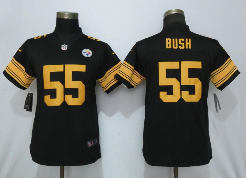 Women Pittsburgh Steelers 55 Bush Navy Black Nike Vapor Untouchable NFL Jerseys