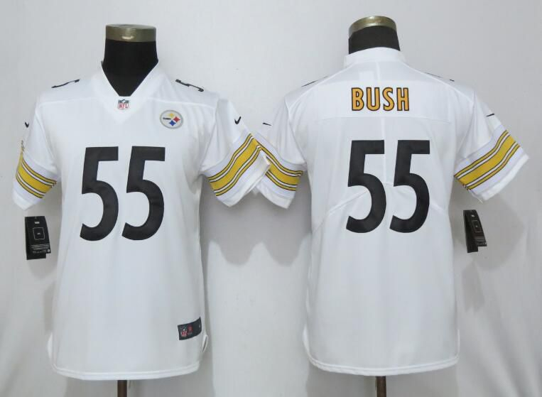 Women Pittsburgh Steelers 55 Bush White Nike Vapor Untouchable NFL Jerseys