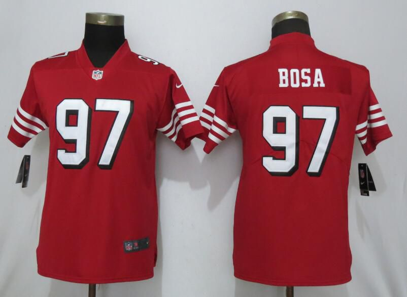 Women San Francisco 49ers 97 Bosa Red Color Rush Vapor Untouchable Nike NFL Jerseys