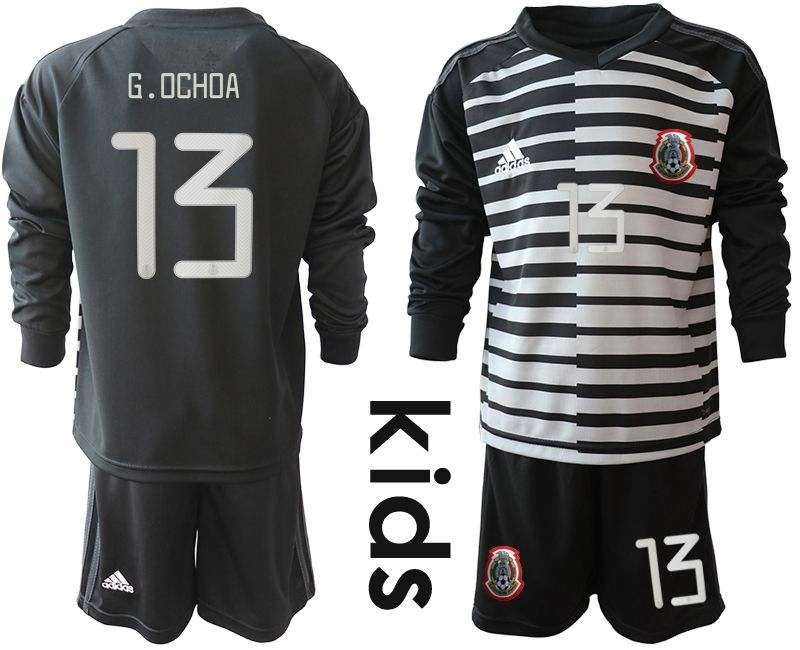 Youth 2019-2020 Season National Team Mexico black long sleeve goalkeeper 13 Soccer Jerseys