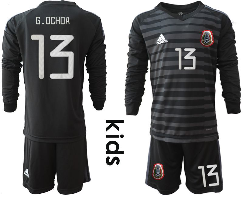 Youth 2019-2020 Season National Team Mexico black long sleeve goalkeeper 13 Soccer Jerseys1