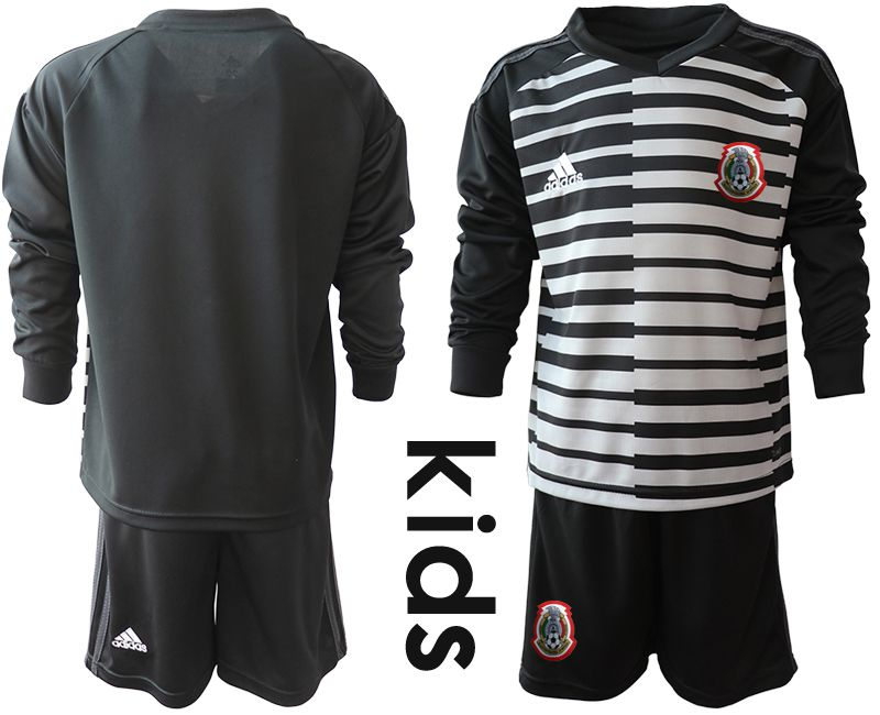Youth 2019-2020 Season National Team Mexico black long sleeve goalkeeper Soccer Jerseys