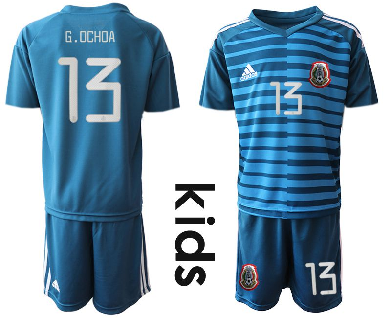 Youth 2019-2020 Season National Team Mexico blue goalkeeper 13 Soccer Jerseys