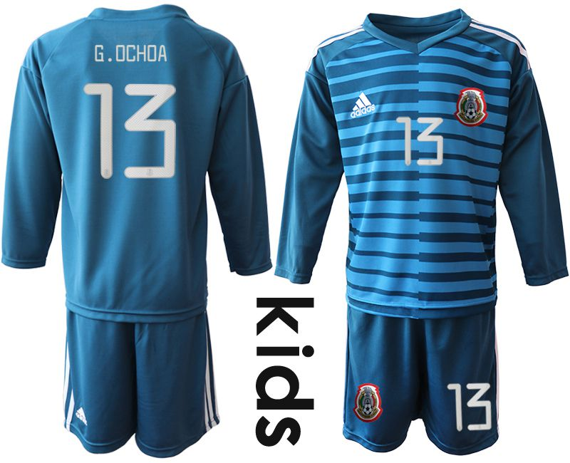 Youth 2019-2020 Season National Team Mexico blue long sleeve goalkeeper 13 Soccer Jerseys