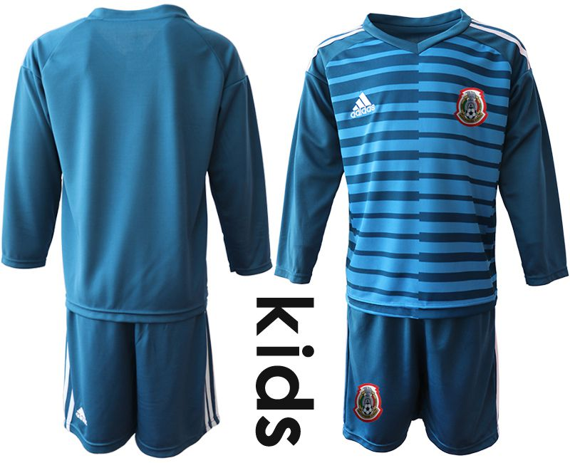 Youth 2019-2020 Season National Team Mexico blue long sleeve goalkeeper Soccer Jerseys