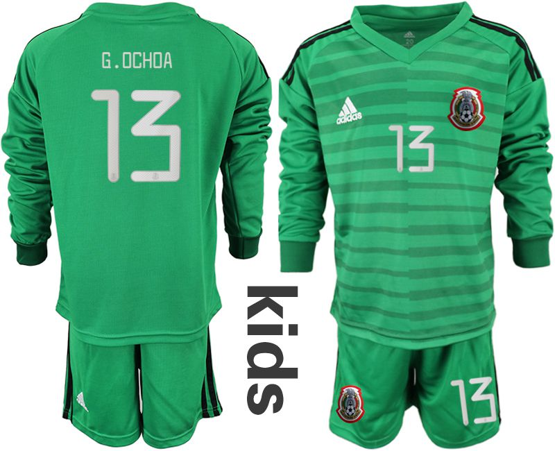 Youth 2019-2020 Season National Team Mexico green long sleeve goalkeeper 13 Soccer Jerseys