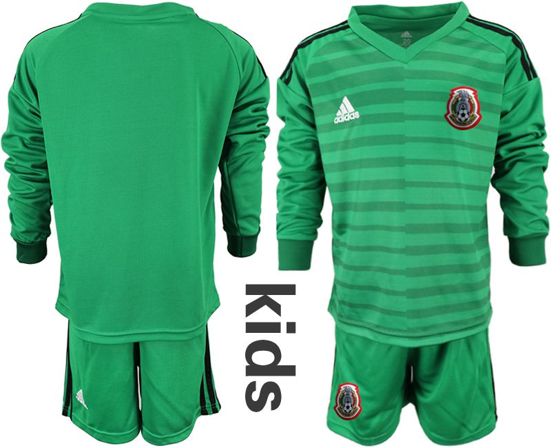 Youth 2019-2020 Season National Team Mexico green long sleeve goalkeeper Soccer Jerseys