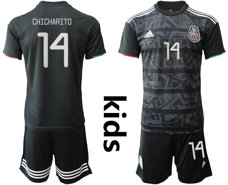 Youth 2019-2020 Season National Team Mexico home black 14 Soccer Jerseys