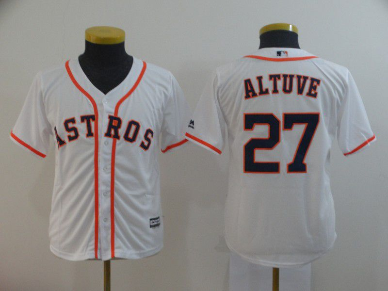 Youth Houston Astros 27 Altuve White MLB Jersey