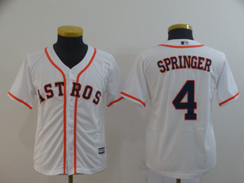 Youth Houston Astros 4 Springer White MLB Jersey