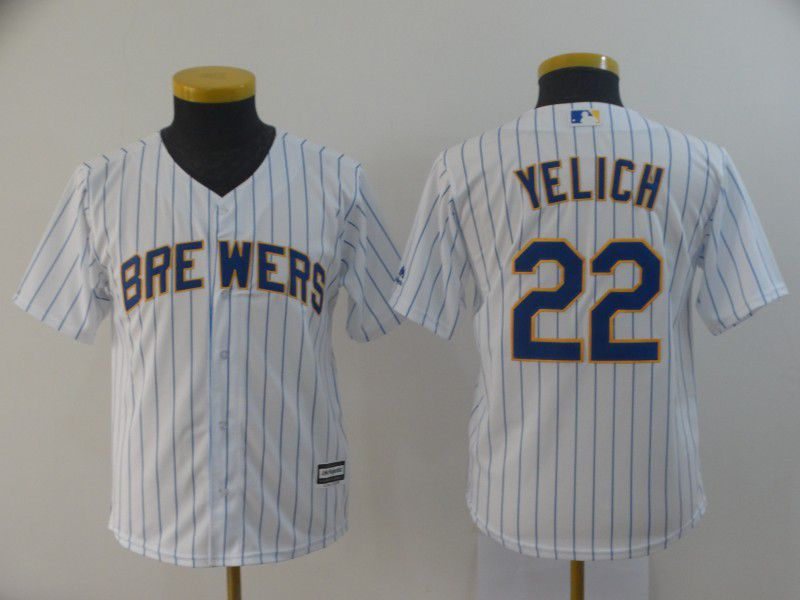 Youth Milwaukee Brewers 22 Yelich White MLB Jersey