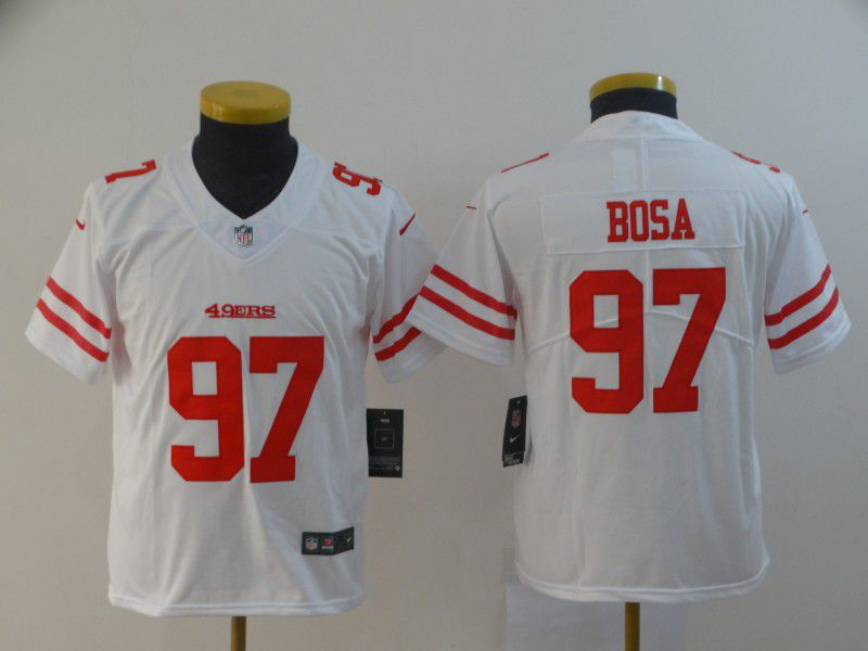 Youth San Francisco 49ers 97 Bosa White Nike Vapor Untouchable Player NFL Jerseys