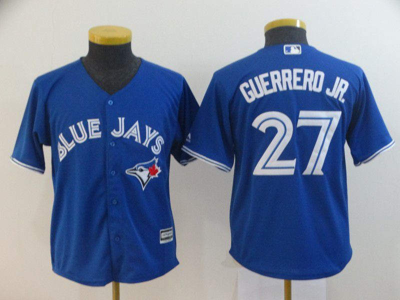 Youth Toronto Blue Jays 27 Guerrero jr Blue MLB Jersey