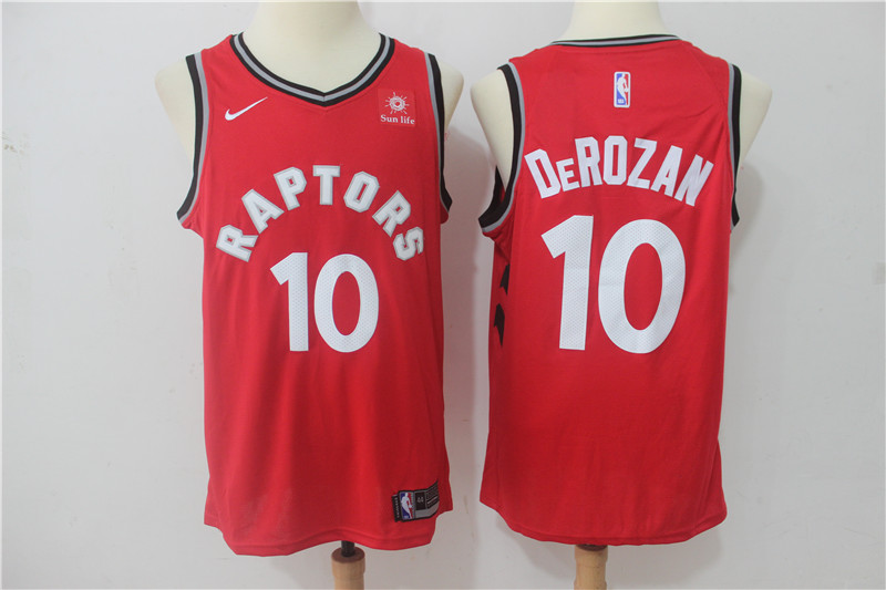 2019 Men Toronto Raptors 10 Derozan Red Game Nike NBA Jerseys