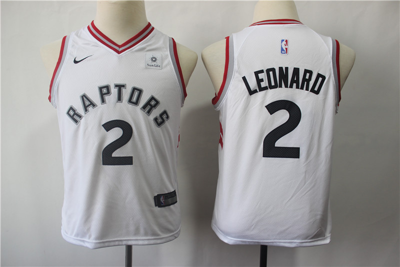 2019 Youth Toronto Raptors 2 Leonard white Game Nike NBA Jerseys