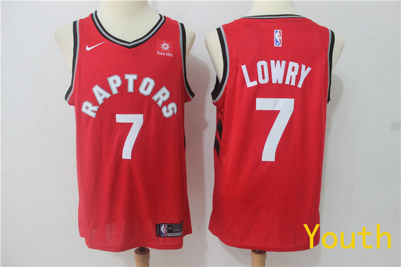 2019 Youth Toronto Raptors 7 Lowry Red Game Nike NBA Jerseys