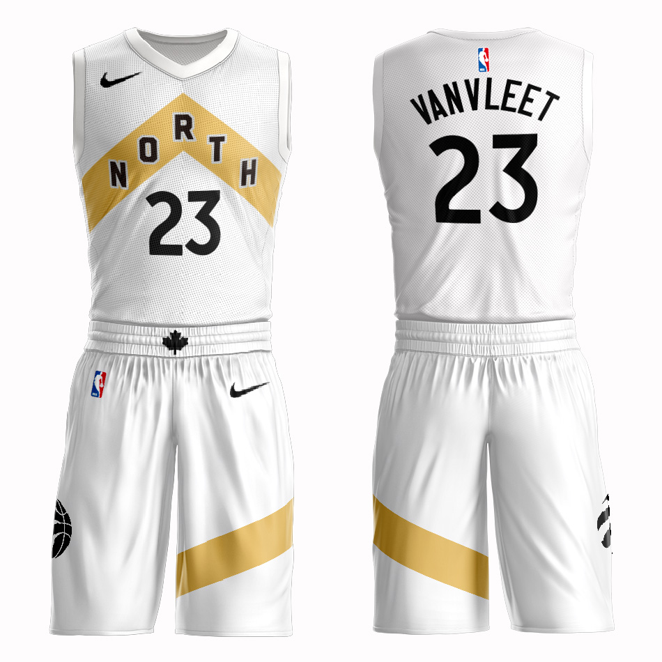 Customized 2019 Men Toronto Raptors 23 Vanvleet white NBA Nike jersey