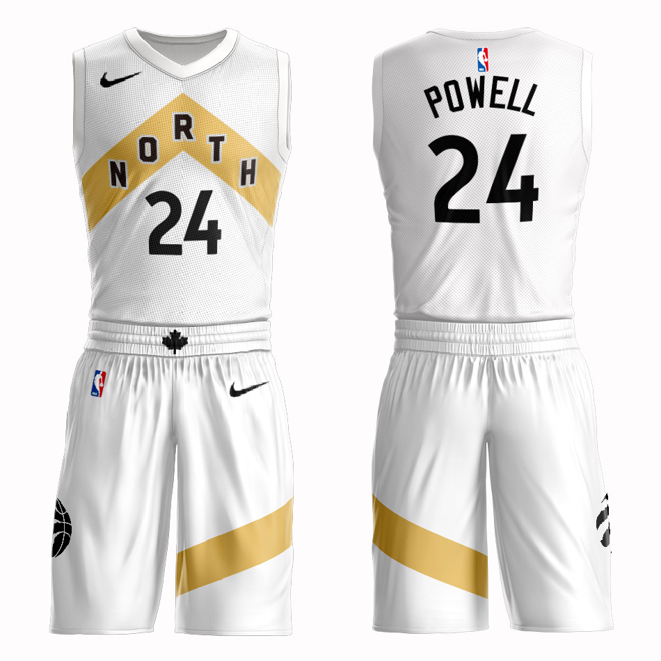 Customized 2019 Men Toronto Raptors 24 powell white NBA Nike jersey