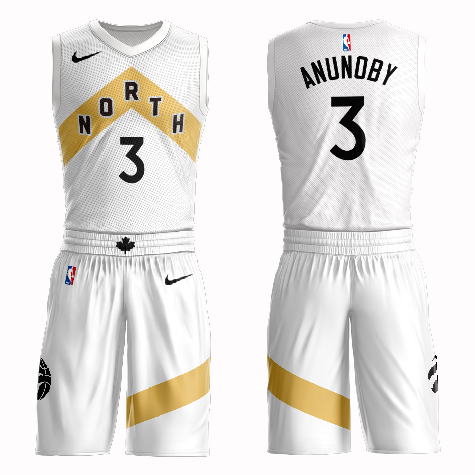 Customized 2019 Men Toronto Raptors 3 Anunoby white NBA Nike jersey