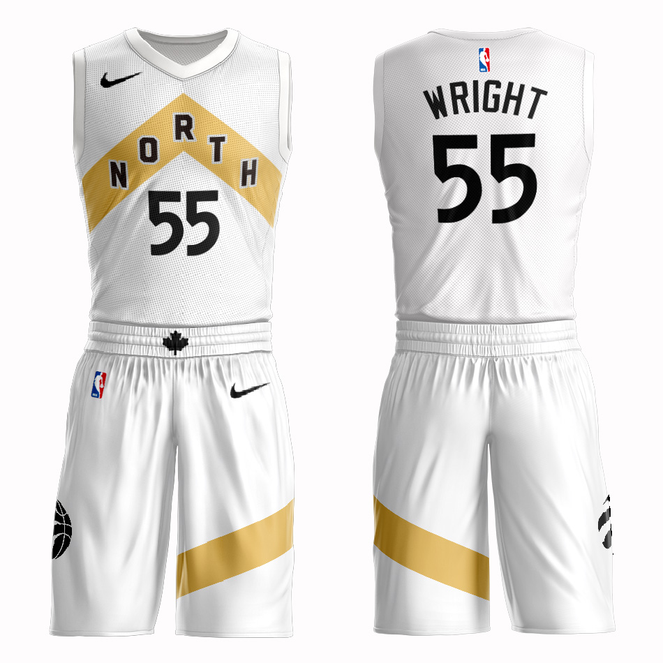 Customized 2019 Men Toronto Raptors 55 Wright white NBA Nike jersey