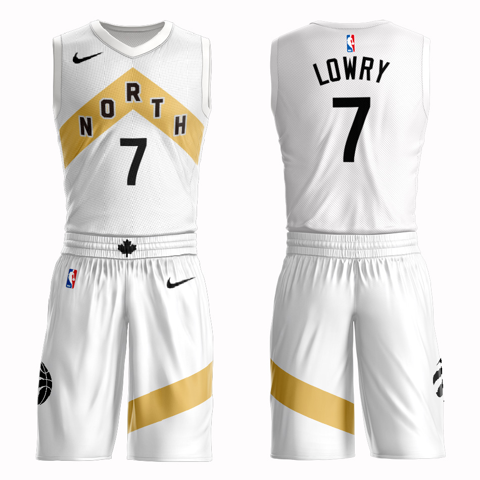 Customized 2019 Men Toronto Raptors 7 Lowry white NBA Nike jersey