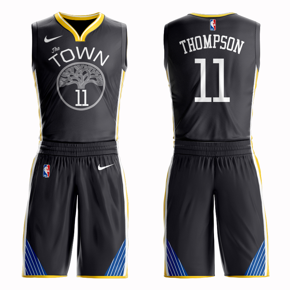 Men 2019 NBA Nike Golden State Warriors 11 Thompson black Customized jersey