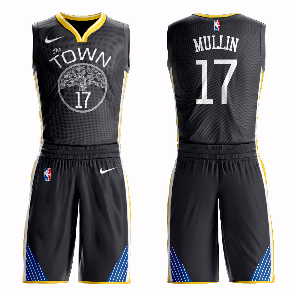 Men 2019 NBA Nike Golden State Warriors 17 Mullin black Customized jersey