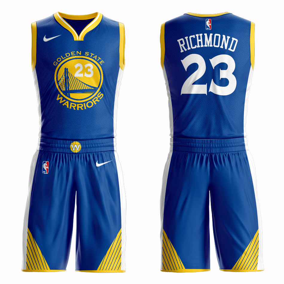 Men 2019 NBA Nike Golden State Warriors 23 Richmond blue Customized jersey