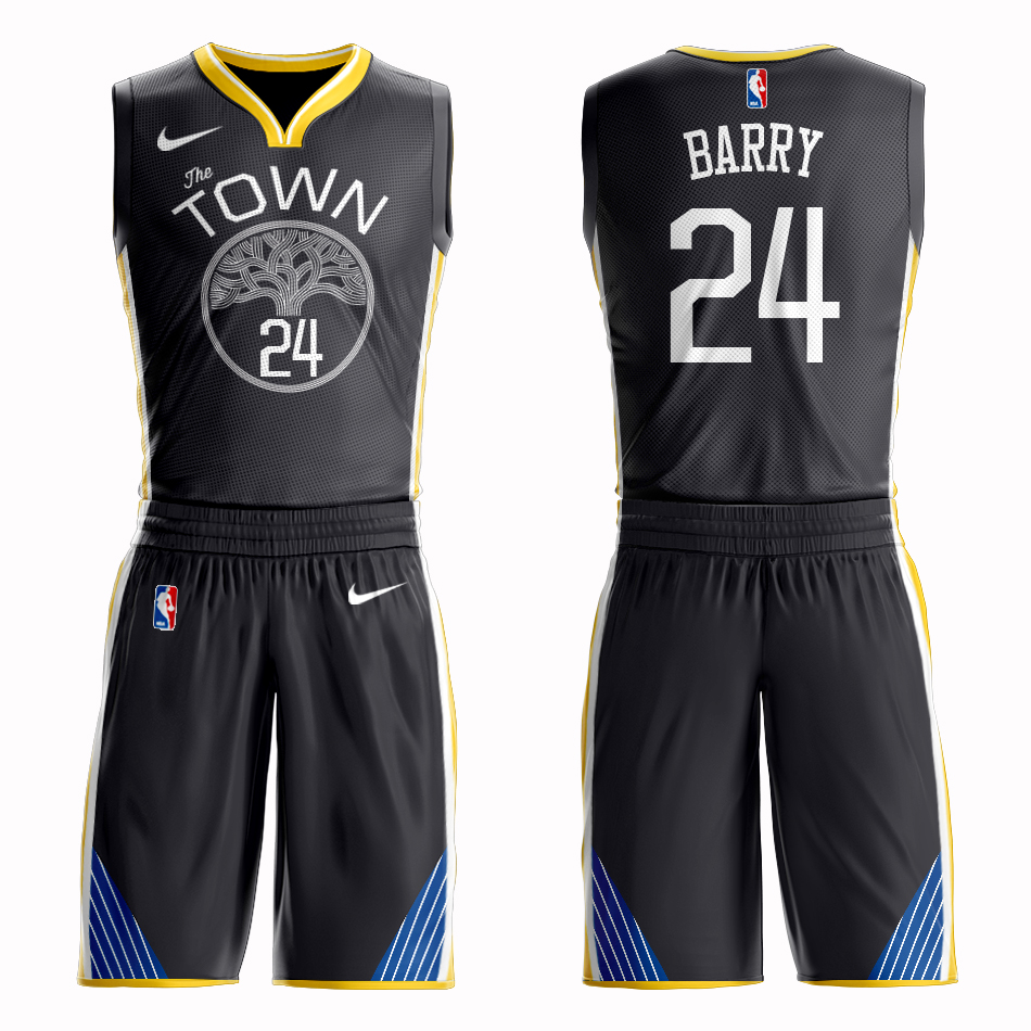 Men 2019 NBA Nike Golden State Warriors 24 Barry black Customized jersey