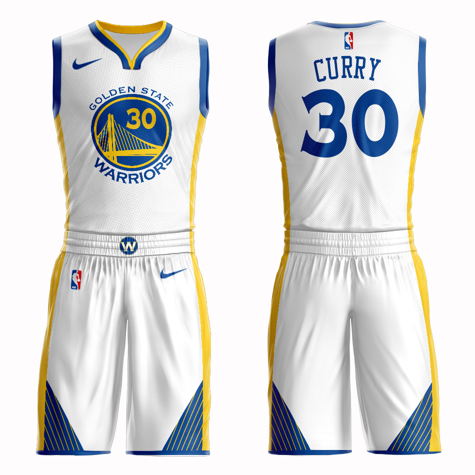 Men 2019 NBA Nike Golden State Warriors 30 Curry white Customized jersey