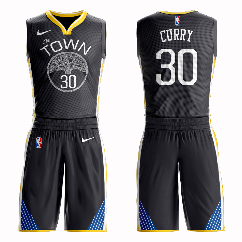 Men 2019 NBA Nike Golden State Warriors 30 Curry black Customized jersey