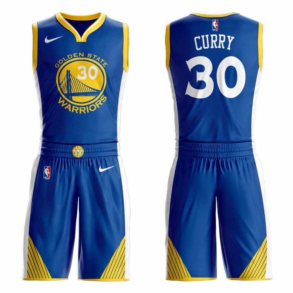 Men 2019 NBA Nike Golden State Warriors 30 Curry blue Customized jersey