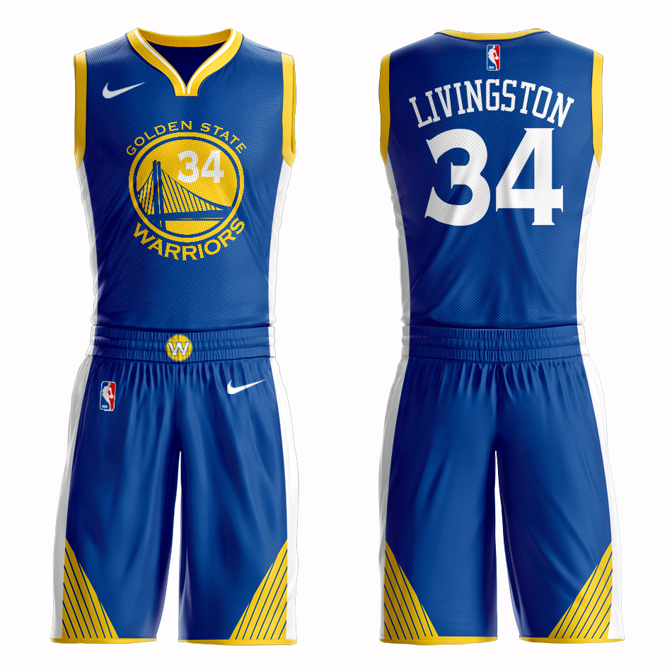 Men 2019 NBA Nike Golden State Warriors 34 Livingston blue Customized jersey