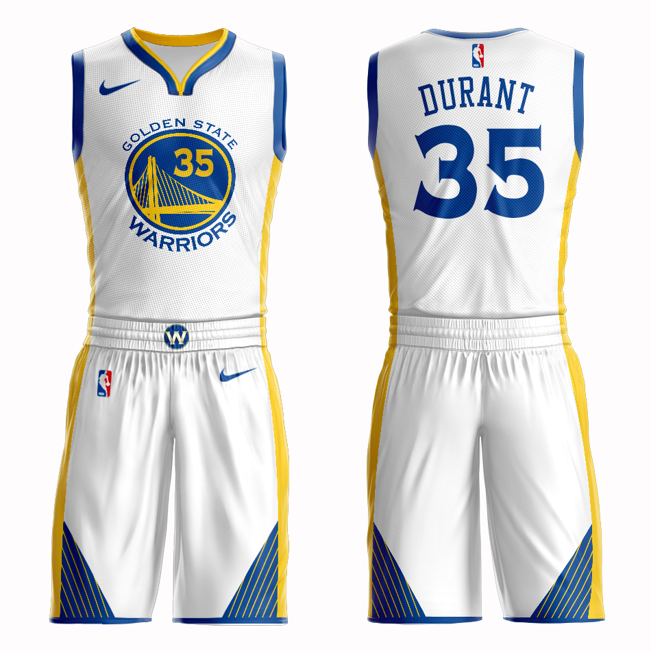 Men 2019 NBA Nike Golden State Warriors 35 Durant white Customized jersey