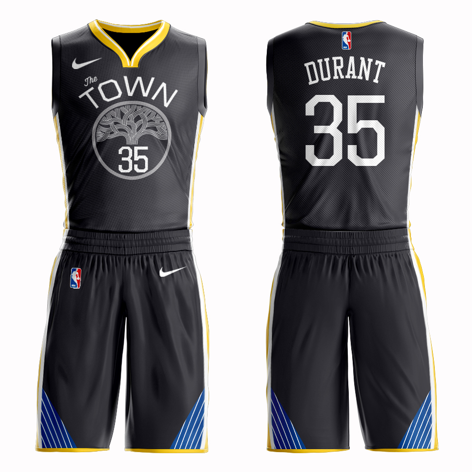 Men 2019 NBA Nike Golden State Warriors 35 Durant black Customized jersey