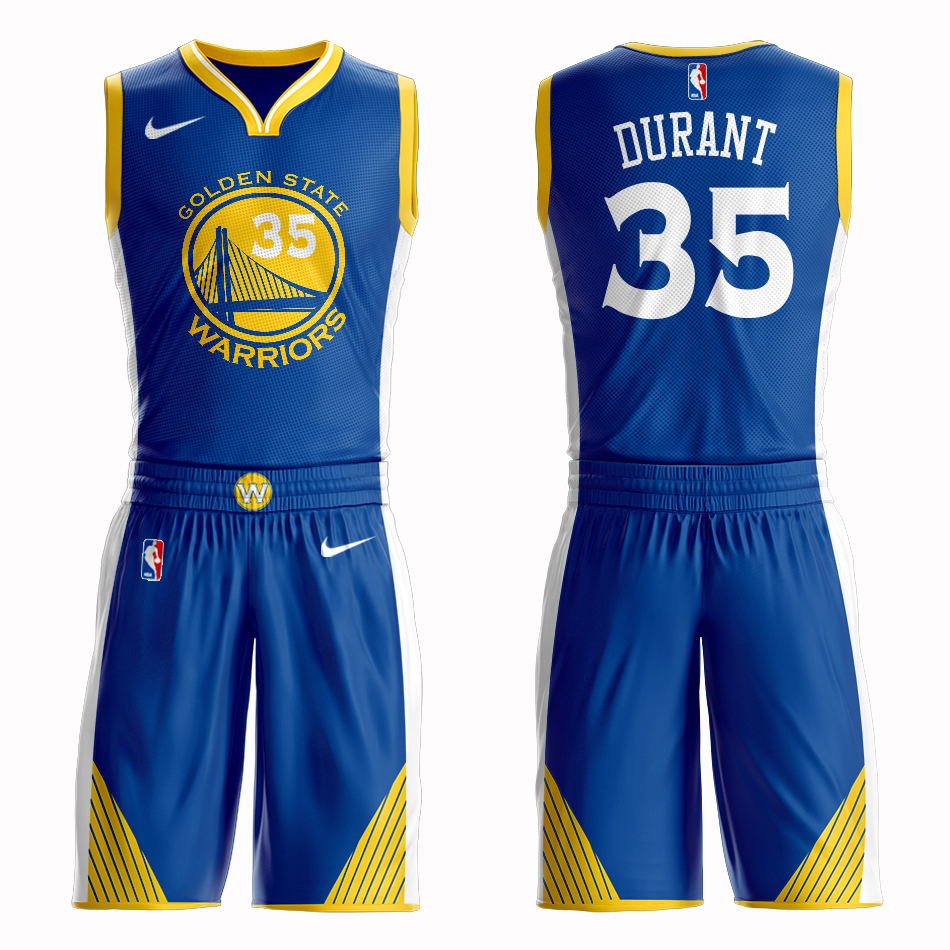 Men 2019 NBA Nike Golden State Warriors 35 Durant blue Customized jersey