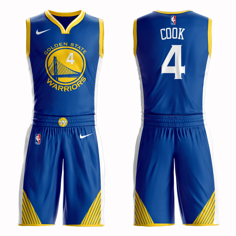 Men 2019 NBA Nike Golden State Warriors 4 Cook blue Customized jersey