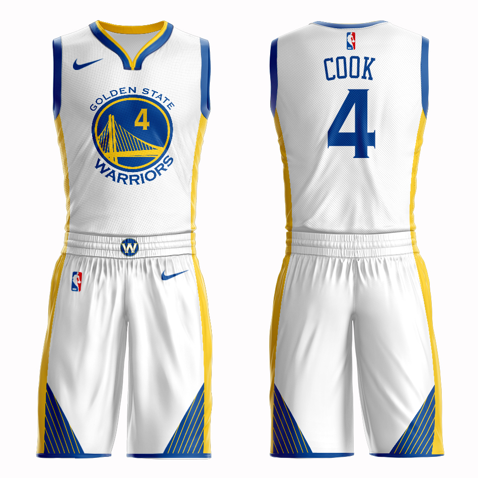 Men 2019 NBA Nike Golden State Warriors 4 Cook white Customized jersey
