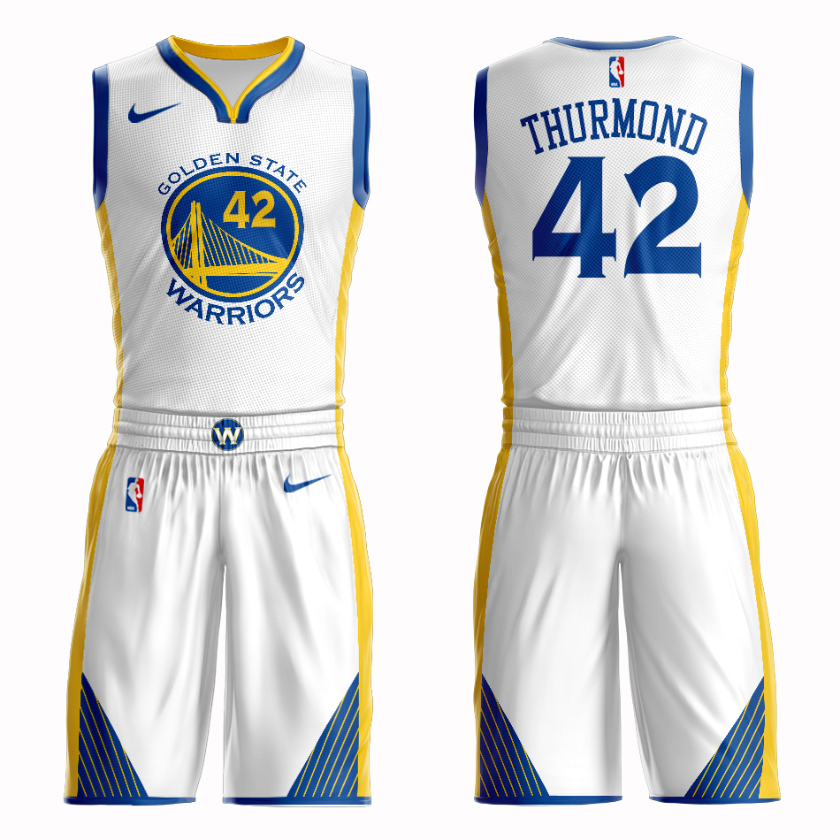 Men 2019 NBA Nike Golden State Warriors 42 Thurmond white Customized jersey