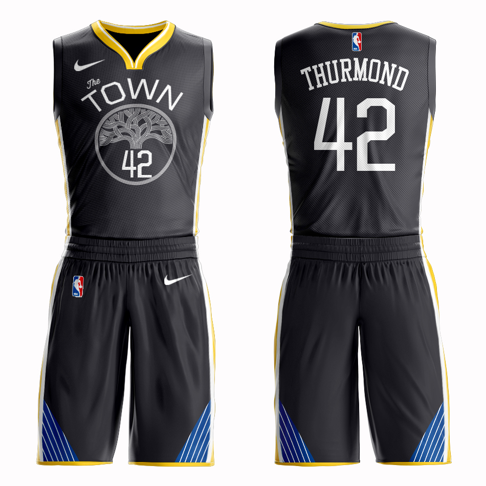 Men 2019 NBA Nike Golden State Warriors 42 Thurmond black Customized jersey