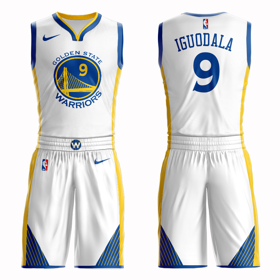 Men 2019 NBA Nike Golden State Warriors 9 Iguodala white Customized jersey