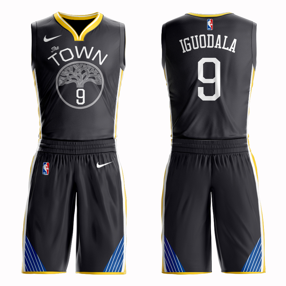 Men 2019 NBA Nike Golden State Warriors 9 Iguodala black Customized jersey