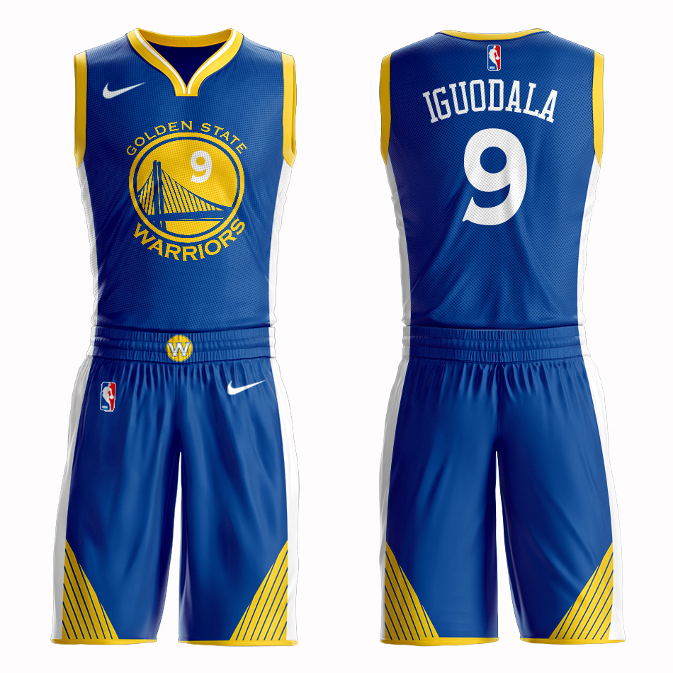 Men 2019 NBA Nike Golden State Warriors 9 Iguodala blue Customized jersey