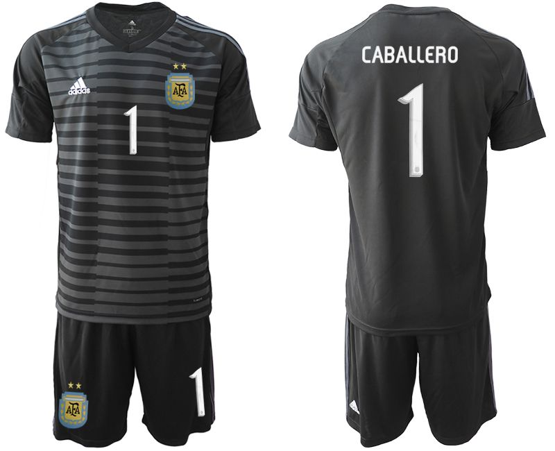 Men 2019-2020 Season National Team Argentina black goalkeeper 1 Soccer Jerseys